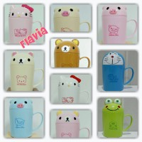Jual mug/gelas karakter kartun lucu, pig, hello kitty, Rilakuma Murah