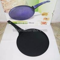 Round grill pan teflon anti lengket bagus wajan datar untuk memanggang