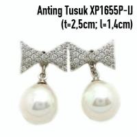 Aksesoris Wanita Anting Tusuk Mutiara Perhiasan Lapis Emas XP1655P-IJ