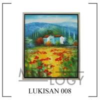 Lukisan Pemandangan Gunung Taman Bunga Minimalis (FREE ONGKIR JAKARTA)