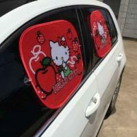 tutup kaca mobil samping hello kitty-sunscreen hello kitty