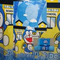 Selimut Bulu Halus Paket Bantal Guling Karakter Doraemon Ukuran BesarU