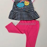 PROMO Setelan Baju Anak Bayi Cewek - Rainbow Pelangi Stripe Garis