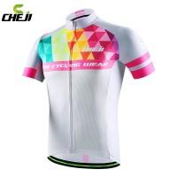Baju Jersey Sepeda Cheji Putih Pink - Premium (Baju Saja)