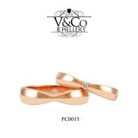 Cincin Kawin Plain Cincin Tunangan Cincin Nikah Emas Berlian PC0015