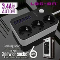 3 Power Socket LOG-ON 6 USB Anti Static Kabel Paralel Listrik Multi