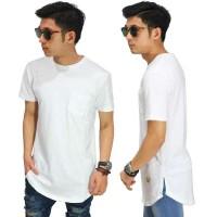Jual Longline T-Shirt New Basic White/kaos hiphop cowok/ baju dance putih Murah
