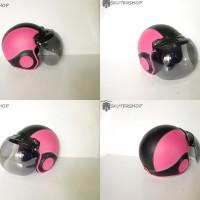 Helm Retro Anak 3 Sampai 5 Tahun Lucu Retro Pink Hitam + Kaca Bogo