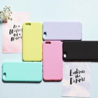 MACAROON CASE/CASING HP IPHONE 5/5S/SE/6/6S/+/7/7+ (SOFT)