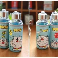 Botol Kaca Karakter Cover Kain 300ml Tempat Minum Botol Kaca