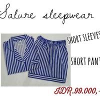 baju tidur wanita salur biru lengan pendek/celana seksi