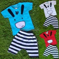 PROMO Setelan Baju Bayi Cowok - Donkey Keledai celana garis stripe