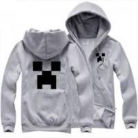 Jual jaket minecraft,switer,tshirt hoodie zipper minecraft abu-abu Murah