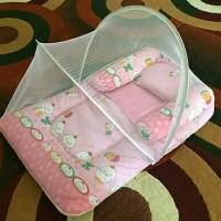 Kasur tempat tidur bayi lipat set kelambu karakter baby dream Terbaru