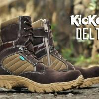 Sepatu Kickers delta boots safety brown suede
