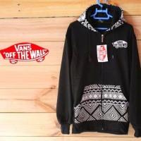 sweater fleece tebal/jaket hoodie vans batik flow ziper