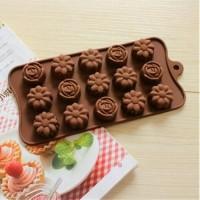 Cetakan Coklat Silikon Mold Praline Es Batu Fondant Bunga 3 Macam