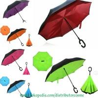 Jual Payung Kazbrella/Payung Terbalik POLOS/Reverse Umbrella Double Layer Murah