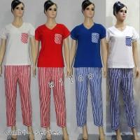 baju tidur dewasa kaos combi-s cln bahan woven lgn pdk/cln pjg salur
