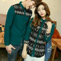 Baju Kemeja Couple Diamond Tosca (HARGA SUDAH SEPASANG)