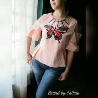 Baju sabrina import butterfly peplum fashion bangkok new arrival