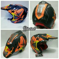 Helm Semi Cross Double Visor Trabas Supermoto Red Bull Orange Dof
