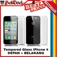 [PAKET] Tempered Glass Apple iPhone 4 Front Back | Anti Gores Kaca
