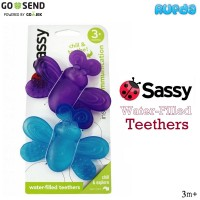 (Ungu Biru) Sassy Water Filled Teethers, Gigitan Mainan Bayi 3 Bulan