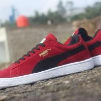 sepatu pria puma suede original premium red black 39-44