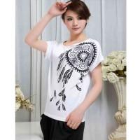 blouse motif print putih hitam casual pendek santai lucu unik