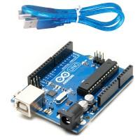 Arduino UNO Plus Kabel USB (Versi DIP, IC Bisa Dilepas)