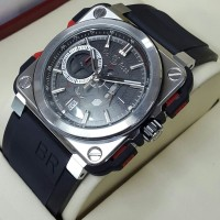 Jam Tangan Pria Bell & Ross Aviation BR-X1 SILVER Black Rubber