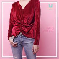 Jual Twisted Velvet Top Blouse Atasan Wanita BL951 TERBARU Murah