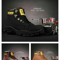 Jual Sepatu Boots caterpillar Coklat Kulit Pria Safety Shoes Premium Murah Murah