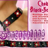 Choker Prom Black Red Satin