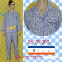baju tidur dewasa bunga tulip lengan panjang/celana panjang blue