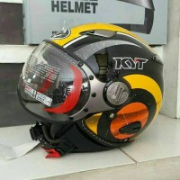 Helm Retro KYT Elsico Motif Yellow Orange