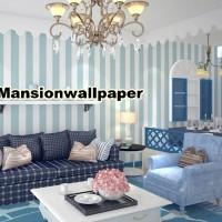 Jual Wallpaper Dinding Garis Stripe Putih Biru Murah