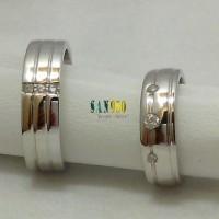 cincin kawin couple emas putih dan perak R1599