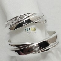 cincin kawin couple emas putih dan perak R1610