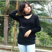 Baju Atasan Murah Wanita Jasmine Vee Sweater Black keren cantik lucu