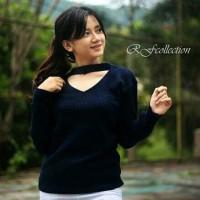 Baju Atasan Wanita/cewek Jasmine Vee Sweater Navy Murah cantik