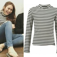 Harga ayu turtleneck salur atasan wanita blouse 0140 | antitipu.com