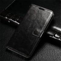 Samsung J7 Prime / on7 Flip Case Cover PU Leather case warna hitam