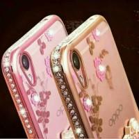 Jual Casing Lucu Oppo F1S Cute Flower Plating List Diamond Soft Case Murah