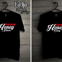 Kaos Couple With My Honey Bisa Pake Nama Kalian Lohh