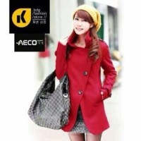 Jaket Mantel Coat Wanita Korea Red Santa