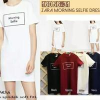 Chic simple mini dress/quotes dress/selfie casual dress/dress putih