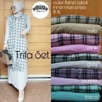 trifa set, setelan hijab dress +outer motif kotak terbaru, murah