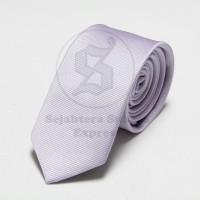 Jual dasi panjang pria bahan import motif garis halus warna putih white Murah